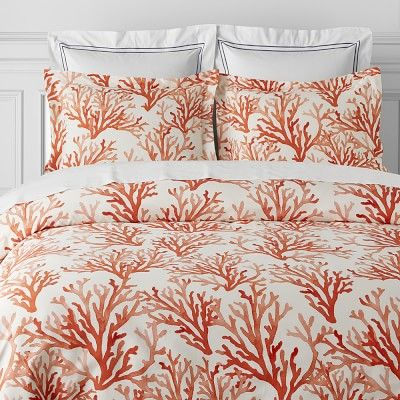 Printed Coral Duvet, Queen, Coral