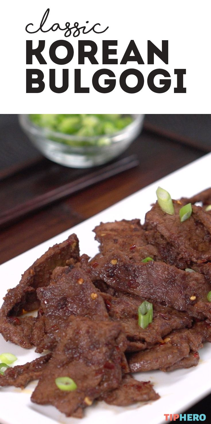 Have you ever tried bulgogi before? This classic Korean dish features thin-sliced beef marinated in a pear-ginger-and-sesame sauce and then grilled to perfection. The hot, sweet and salty combo is delectable, and what's more, because you're slicing the beef super-thin, it only takes minutes for it to absorb the flavors. Say goodbye to hours of marinating and whip this one up whenever you get a craving. Click to watch how easily it all comes together!