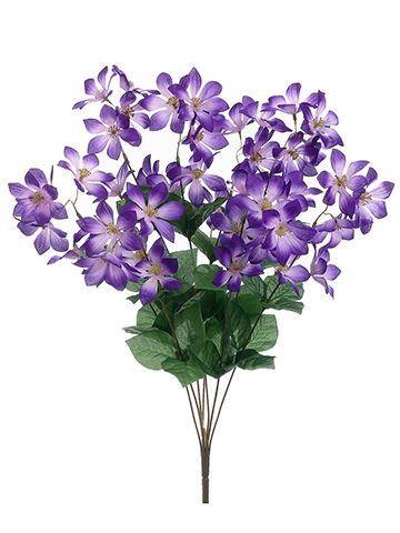 Clematis Silk Flower Bush in Violet Purple - 22in. Tall