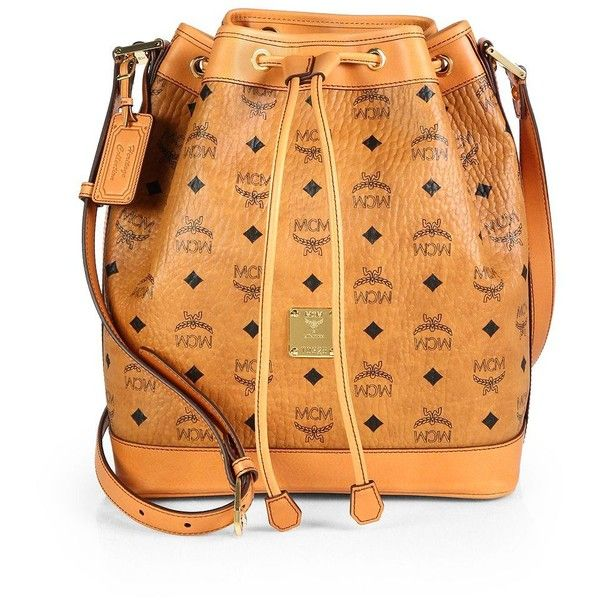 MCM Heritage Coated-Canvas Drawstring Shoulder Bag ($915) ❤ liked on Polyvore featuring bags, handbags, shoulder bags, apparel & accessories, cognac, print purse, print handbags, pattern purse, beige shoulder bag and mcm handbags