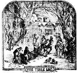 "Hauling of the yule log. From Chambers Book of Days (1832). The Yule log is a large log that is burned in the hearth as part of a Yule, or Christmas, celebration or with Winter Solstice festivals. ""Yule log"" may also refer to log-shaped Christmas cakes."