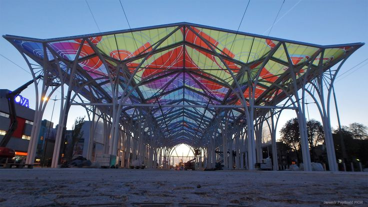 ETFE multicolour membrane roof at Tram Station, Lodz/Poland.
