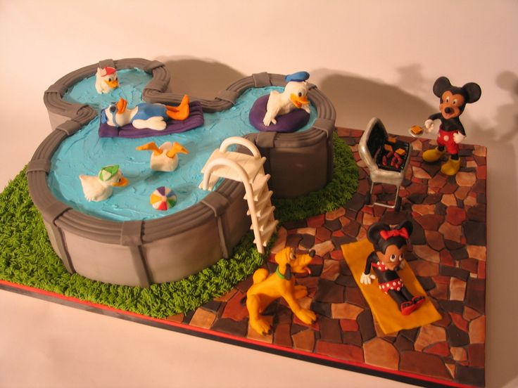 mickey mouse pool birthday party cake - Google Search