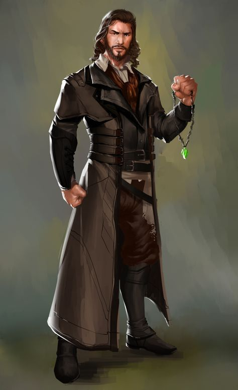 44e6bc055 male character - noble or traveller with green amulet DnD or Pathfinder  character or NPC
