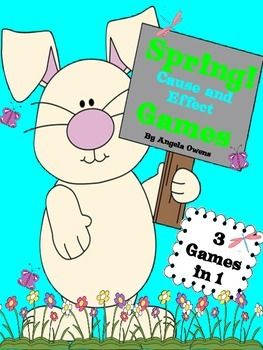"""This is a collection of 3 cause and effect games with a spring theme.  This set includes:1. Color game board2. Black and White game board3. 32 game cards that students read and identify cause and effect4. 12 cause game cards that students match to effect game cards5.  12 effect game cards that students match to cause game cards6.  18 """"What is the cause?"""" game cards7.  18  """"What is the effect?"""" game cards8."""