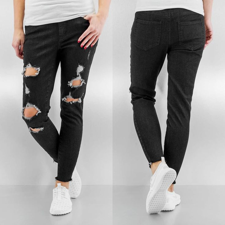 Pieces Джинсы / Облегающие джинсы pcJust Tilda Cropped черный 237818