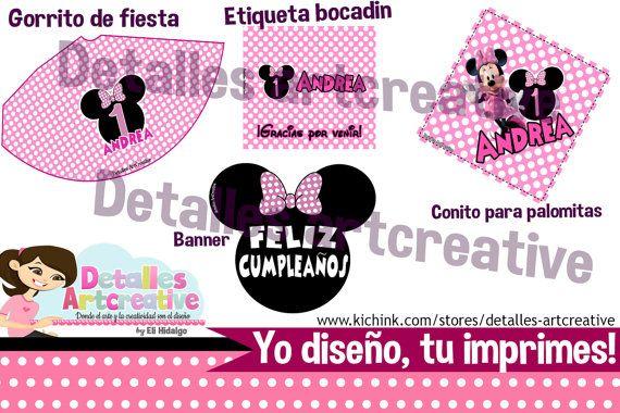 Kit Fiesta Imprimible Minnie Mouse por Detallesartcreative en Etsy