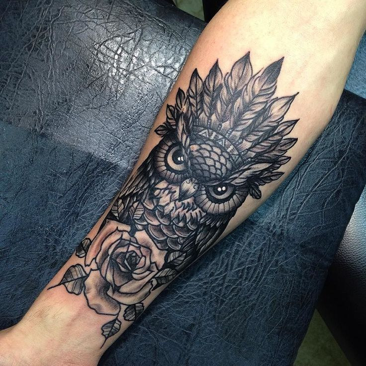 owl and rose tattoo artwork tattoos pinterest eulen uhr unterarm tattoos und tattoo ideen. Black Bedroom Furniture Sets. Home Design Ideas