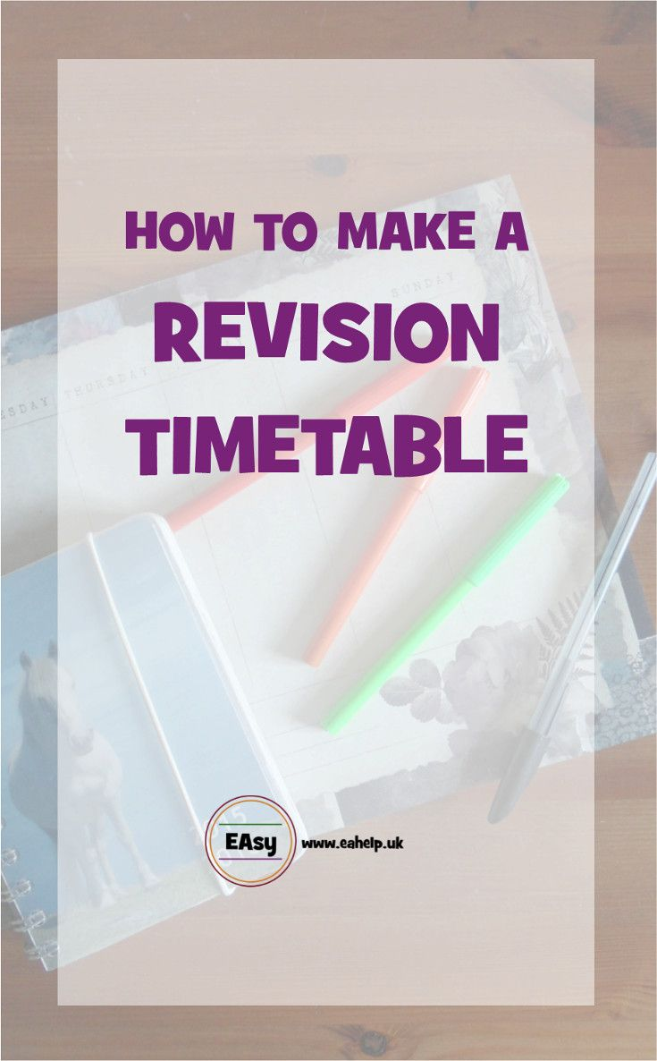 Making a revision timetable will make revising for your exams so much easier and less stressful. Click to read now or re-pin to read later to find out how to make an effective revision timetable that allows you time to do other things as well.  via @easyhelp