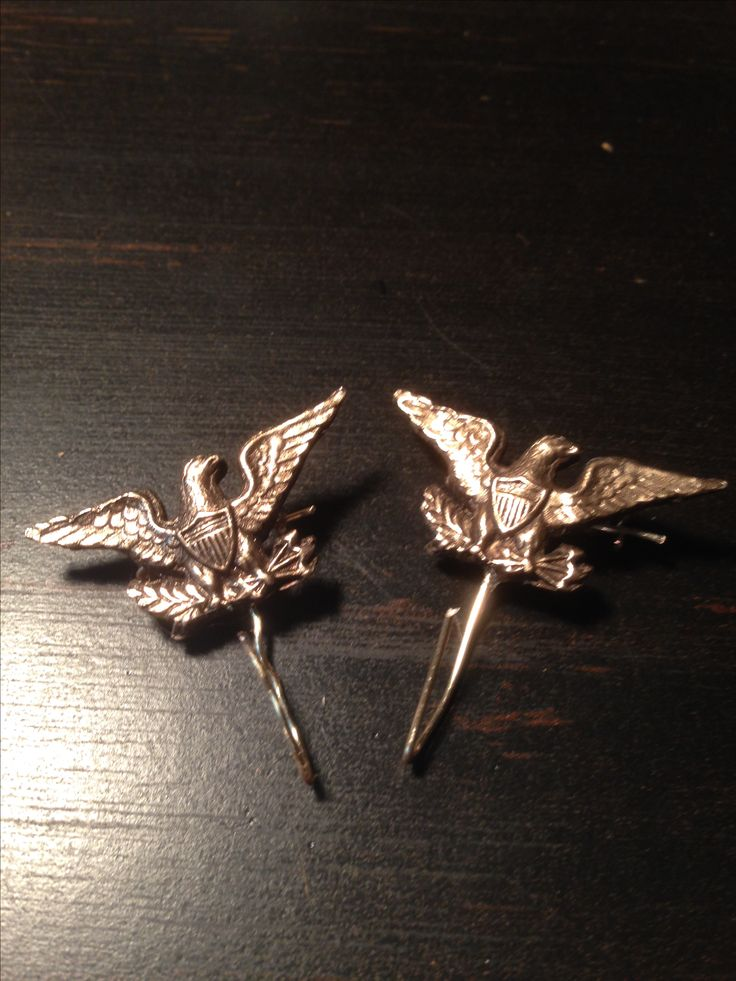 Two Eagle Pin Hooks.  Hang an ID Disc Metal Corps Badge or homemade badge from it.  Makes a very nice ornament for your uniform. Available through my site www.civilwarcorpsbadges.com
