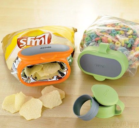 Snack Bag Cap - wow! Put a lid onto any kind of bag...seems neat!