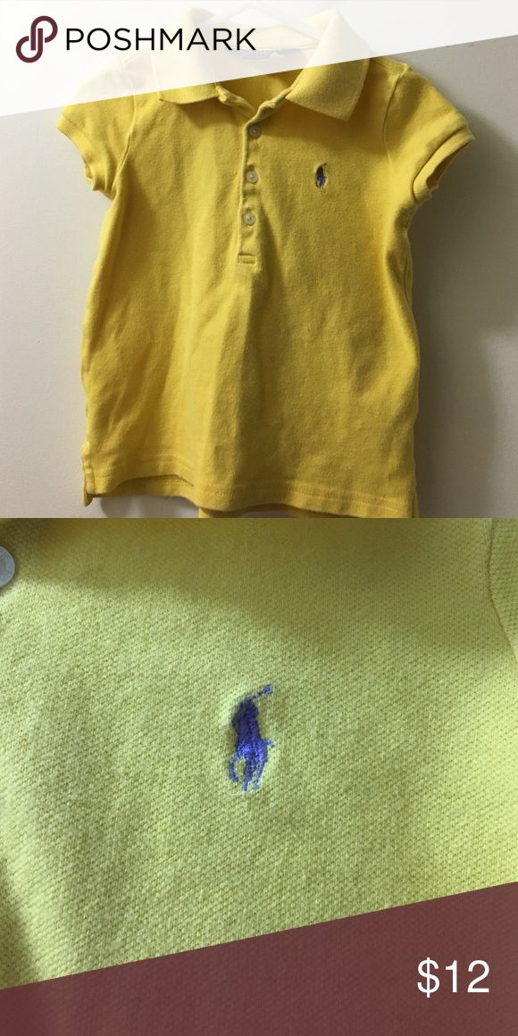 Yellow Polo short-sleeved polo shirt Yellow polo w/ purple horse. Great condition. Polo by Ralph Lauren Shirts & Tops Polos