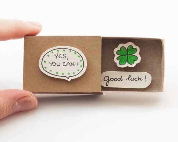 Good Luck Card/ Cute encouraging Matchbox/ Gift box/ by 3XUdesign