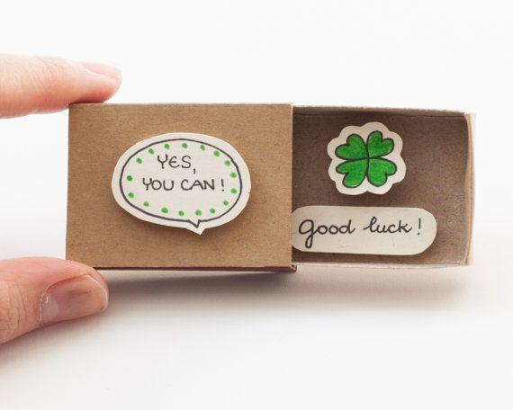 Gute Glück Karte / Cute Förderung Matchbox / von 3XUdesign auf Etsy