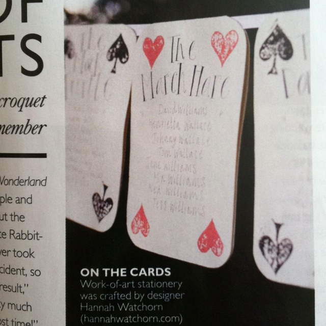 Alice in wonderland wedding stationary featured in you and your wedding magazine.