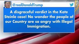 "President Trump on Thursday night tweeted that the not guilty verdict in the Kate Steinle murder case was ""disgraceful,"" highlighting his apparent frustration at the resolution of a case he had cited during his presidential campaign as a justification for tougher immigration enforcement."