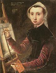 Caterina van Hemessen, pittrice fiamminga, dipingeva ritratti davanti sfondi neri o neutri, evidenziando così la sola persona, contrariamente a quanto la pittura fiamminga in genere prediligeva: l'amore per i dettagli anche in secondo piano.  See more on: http://en.wikipedia.org/wiki/Caterina_van_Hemessen  Caterina van Hemessen (1528 – after 1587)