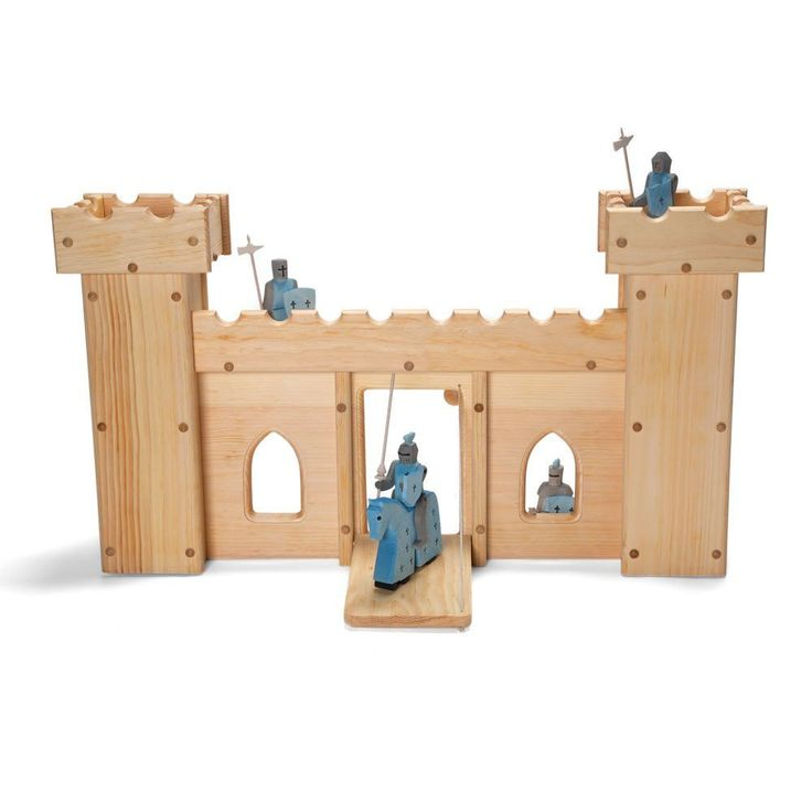 Elves And Angels Solid and stately, this wooden castle is built to withstand battles and sieges. Its functional drawbridge is sure to secure the castle from intruders, and there's plenty of room insid