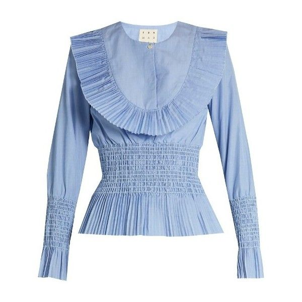 Trademark Pleated-bib smocked cotton-poplin shirt ($375) ❤ liked on Polyvore featuring tops, blouses, blue, pleated shirt, oversized blouse, sky blue blouse, smocked blouse and oversized tops