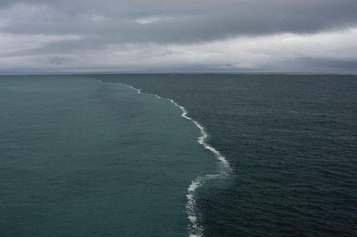 Fusión-de-aguas.jpg (800×533)En esta imagen tomada por el fotógrafo Kent Smith, se aprecia como el agua dulce del deshielo de los glaciares se reúne con el océano. El agua del océano tiene un mayor porcentaje de sal y por lo tanto tiene una densidad diferente, lo que hace difícil que las aguas se mezclen.