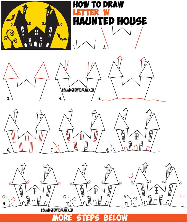 25 best ideas about easy drawings for kids on pinterest Haunted house drawing ideas
