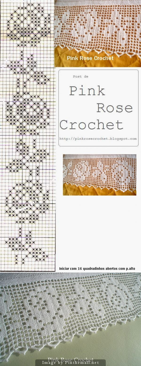 Filet crochet lace edging Perfect Rose ~~ Rosa Perfeita ~~ Baby Irish scallops on one othe filet strip straight edges ~~ http://pinkrosecrochet.blogspot.com.br/2009/03/barrado-rosas-croche-file-grafico-rose.html:
