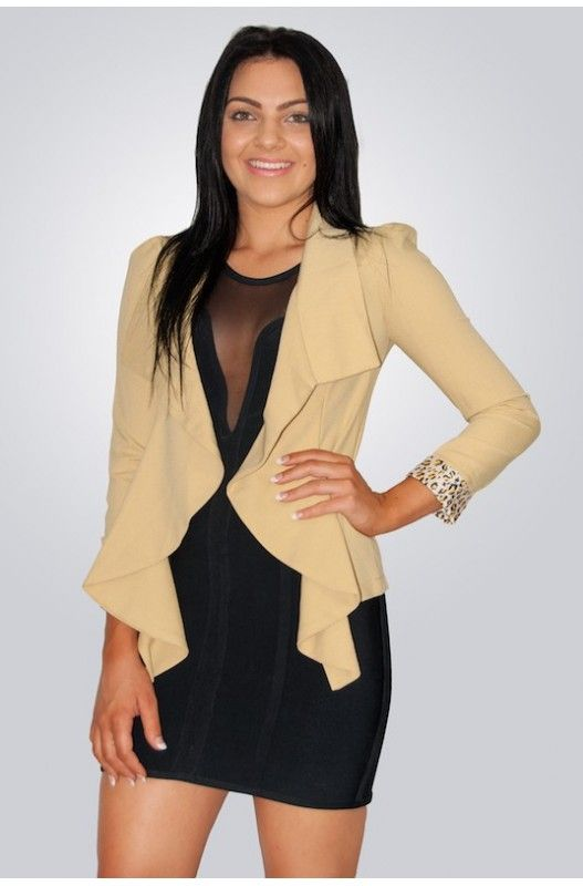 """Show em Style"" Jacket- Gorgeous Frill Collar. Leopard trim. Shop onlt at A$20.00."