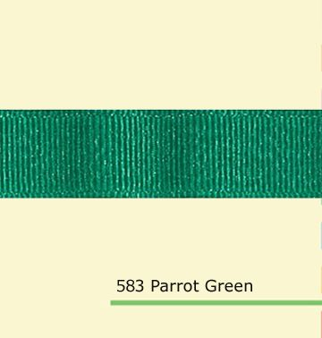 "7/8"" inch (22mm) silver metallic  Parrot Green grosgrain ribbon"