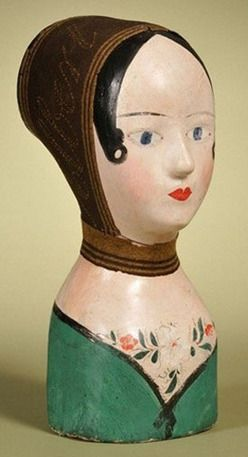 French painted papier-mache [paper mache] milliner's head, mid 19th century, felt head scarf with the stitched name of Albert Vinet