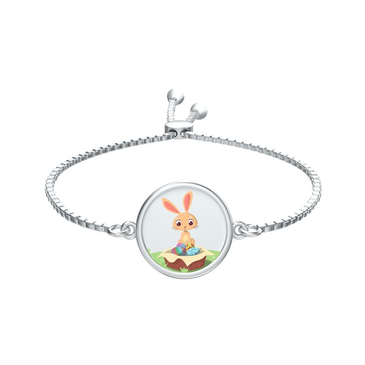 Cute Easter Bunny Silver Slider Bracelet Order Here https://goo.gl/EPMojf  #jewellery #style #silver #necklaces #zirconia #beautifulgift #jewellerysets #rings #passionforfashion #sterlingsilver