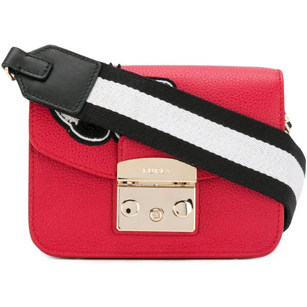 Furla Metropolis post mini bag (325 CHF) ❤ liked on Polyvore featuring bags, handbags, red, furla handbags, red leather purse, furla purses, leather purses and leather handbags