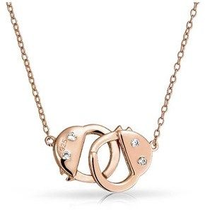 Bling Jewelry Cz Secret Shades Handcuff Pendant Rose Gold Plated Necklace 17 Inches.