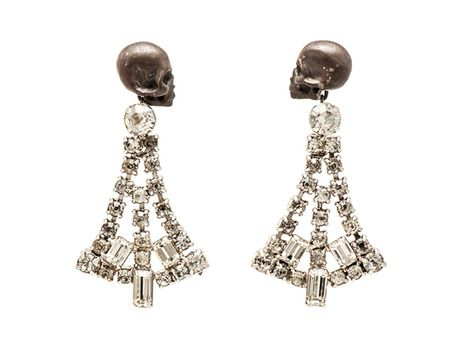 Death and Diamonds earrings by Julia deVille  (Oxidised sterling silver, antique rhinestones)