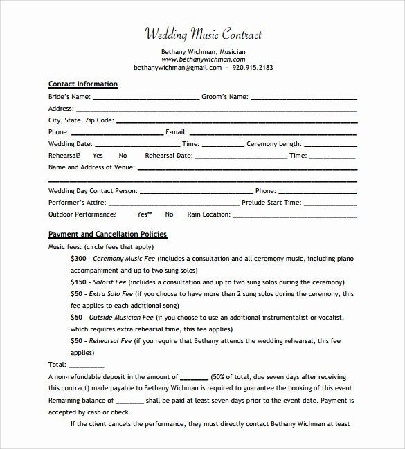 Music Performance Contract Template Lovely 15 Music Contract Templates Contract Templates Contract Template Resume Template Word