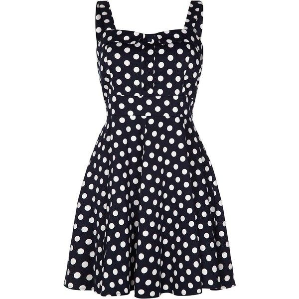 Quiz Navy Polka Dot Strap Skater Dress ($47) ❤ liked on Polyvore