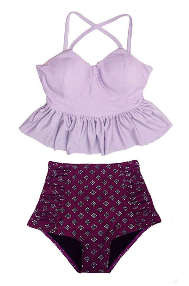 Lavender Long Peplum Top and Burgundy Rouched Ruched High waist waisted Shorts Bottom Swimsuit Swimwear Bikini Bathing suit Bathsuit S M L