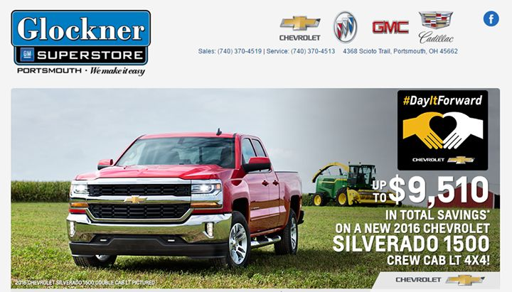 Chevy Truck Month is still going on until the end of March.  Stop by either the Glockner GM Superstore in Portsmouth or Glockner of Ironton to find some of the BEST deals of the year - some over $9000 off -  on select models of Chevy Trucks.   Stop in and see why Glockner Makes Ownership Easy!