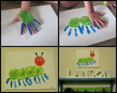 Handprint Art: Wall Art, Hands Prints Crafts, Ideas, Handprint, Hungrycaterpillar, Kids Crafts, Hungry Caterpillar, Eric Carl, Art Projects