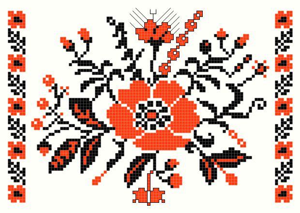 Poppy cross-stitch pattern - antique Ukrainian Embroideries charts