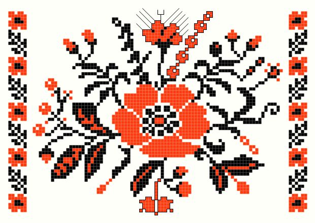 Poppy cross-stitch pattern - antique Ukrainian Embroideries charts