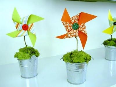 Pinwheel Topiaries - Cute Idea for a party centerpiece