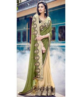 Delighting Green And Cream Georgette Saree.