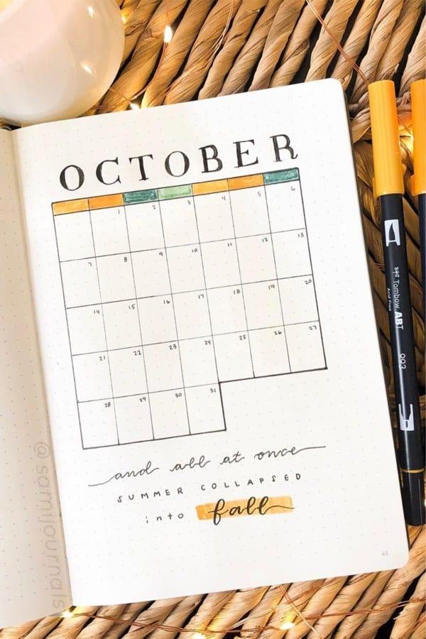 25 besten monatlichen verbreiten Oktober Ideen für Bujos im Jahr 2019