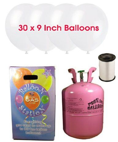 Disposable Helium Gas Cylinder with 30 Snow White Balloons and Curling Ribbon included: Amazon.co.uk: Toys & Games
