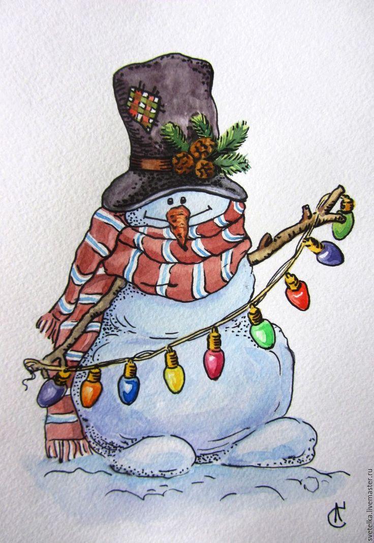 День, рождественские снеговики открытки