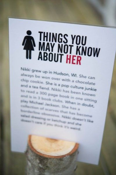 "DIY wedding facts (a) I kinda like this.. you can have ""her"" on one side and ""him"" on the other. This is a good idea for guests who may not know one or the other very well."