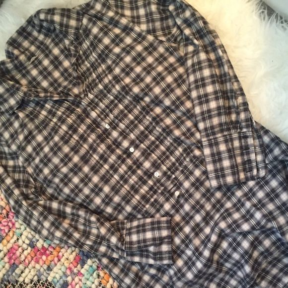 J.Crew Flannel Tunic Grey and white plaid, flannel tunic with pintucks and ivory buttons. J. Crew Tops Button Down Shirts
