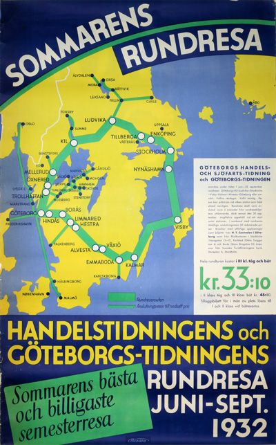 Cool Swedish 1932 travel poster promoting summer round trips in south of Sweden.