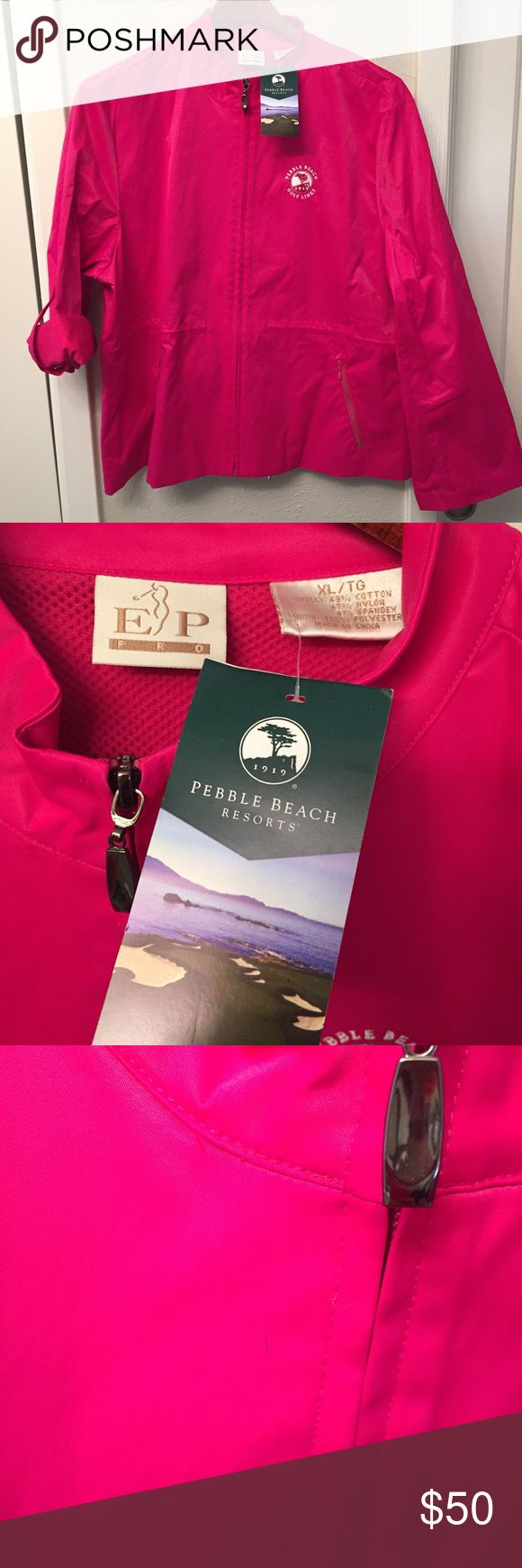 "EP Golf Jacket Sz XL NWT Pink Azalea Pebble Beach New and buttery soft satiny smooth finish! There is the tiniest mark on the front near the zipper (reference photos). Chest: 47""; Sleeve from shoulder: 23.5""; Length from collar/neck seam down center of back: 25"" EP Pro Jackets & Coats"