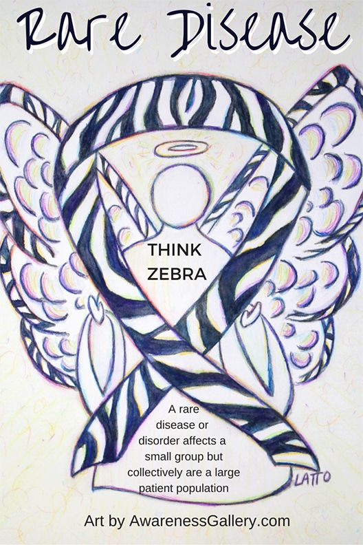 """Rare disease cause uses a zebra ribbon for awareness.  It is a reference to the medical expression about symptoms """"When you hear hoof beats, think horses not zebras"""" to make a diagnosis.  Rare diseases are the medical zebras!  Zebra Awareness Ribbon Angel Art Painting from AwarenessGallery.com"""